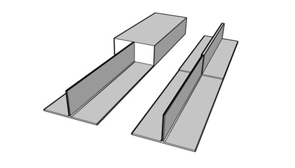 图1:钛合金T型接头从实心块加工而成(左)或从由静轴肩搅拌摩擦焊焊接底板和支撑板制作的近净形部件加工而成(右))。