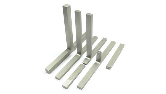 图2:静轴肩搅拌摩擦焊钛合金T型接头,试件从左到右:1)焊接件,2)加工成型件,3)拉伸件失效位置在底板上,以及4)拉伸件失效位置在支撑板上,显示了两个失效位置都在母材中。