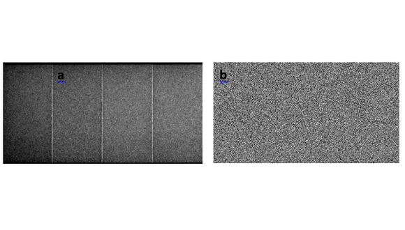 Figure 1. X-ray image with no object; a) raw image, b) corrected image using a calibration process