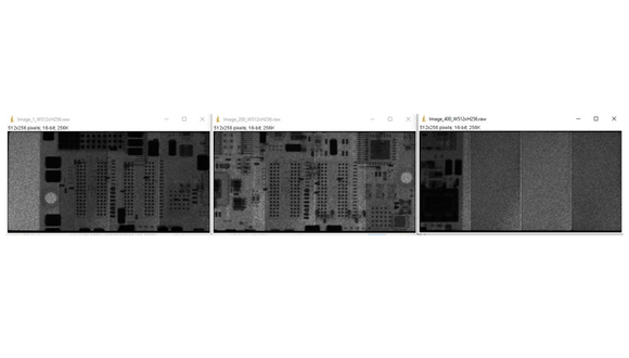 Figure 2. Three radiographs of a set of 400 frame averaging (512x256 pixels) before calibration and stitching is applied