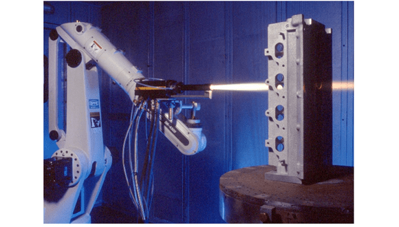 Figure 2. HVOF JP5000 set-up at TWI Ltd, Cambridge UK