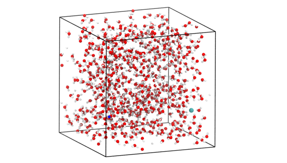 Snapshot from a simulation with about 650 water molecules (red balls: oxygen; white balls: hydrogen) and one NaCl ion pair (blue: sodium; cyan: chlorine