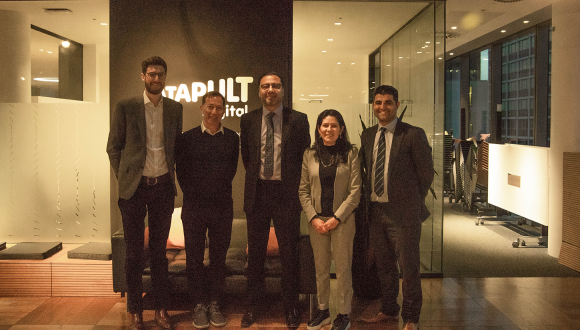 Photograph shows, left to right: Nick Wright, Head of Manufacturing Industries, Digital Catapult, Jeremy Silver, CEO, Digital Catapult, Aamir Khalid, Chief Executive, TWI,Geraldina Iraheta, Director of Business Development, Digital Catapult and Abbas Mohimi, Heading Public Funding, TWI.