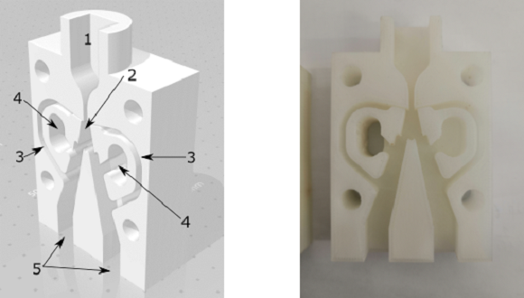 Fluidic switch CAD model (left) 3D printed prototype
